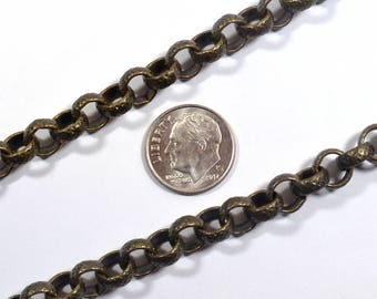 Crosshatch Etched Rolo Chain - Antique Brass - CH92-AB - Choose Your Length