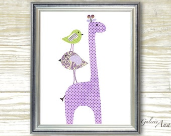 Art for children - kids room art - personalized - purple and green - giraffe nursery - baby decoration - Elegance