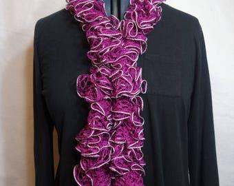 Magenta Crochet Ruffle Scarf
