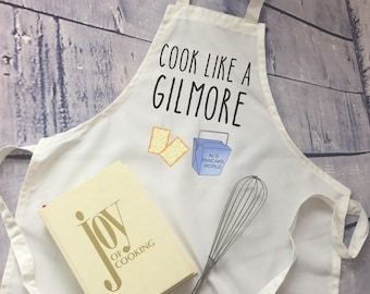 Gimore Girls Apron/funny apron/Cook Like a Gilmore / bridal shower gift/ gilmore girls fan gift/ adjustable apron/
