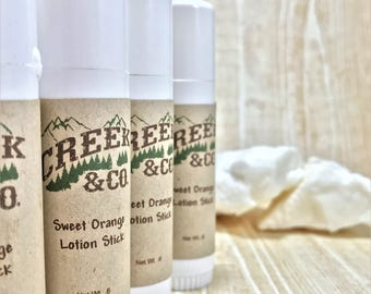 Sweet Orange Lotion Stick, lotion stick, lotion bar, natural lotion stick, orange lotion stick, shea butter lotion, essential oil lotion