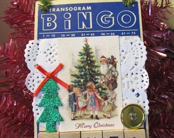 Vintage Christmas Santa Altered Bingo Card Holiday Decoration Ornament Accent Door Hanger Retro