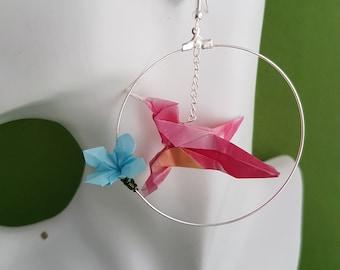 Hummingbird jewelry, hummingbird gift, hummingbird, bird lover gift, paper bird jewelry, origami jewelry, origami gifts, paper earrings