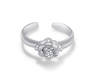 Sterling Silver Flower with a round cubic zirconia center hand casted toe ring.