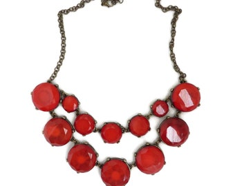 Red Glass Necklace, Vintage Boho Necklace, Glass Bead Necklace, Chunky Rust Red Necklace, Statement Necklace, Gift Idea for Her