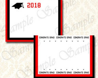 Class of 2018 Graduation Party Decorations, Food Buffet Tent Card Labels, Printable Grad Place Name Card Red and Black, Table Tent, Digital