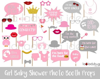 Girl Baby Shower Photo Booth Props. Printable. Pink And Gray. DIY Baby  Shower Bubble Speech. Instant Download. PDF File. High Resolution.