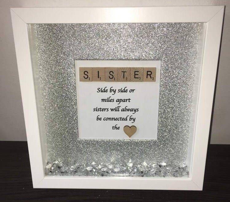 Sparkle Glitter Scrabble Sister Frame
