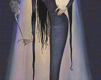 Morticia  - emailed PDF cross-stitch chart / pattern, original art © Aly Fell, licenced by Paine Free Crafts