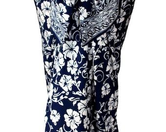 Hawaiian Beach Sarong Womens Clothing Swimsuit Coverup Hibiscus Flower Pareo Navy Blue Batik Sarong Wrap Skirt Beach Wrap Skirt or Dress