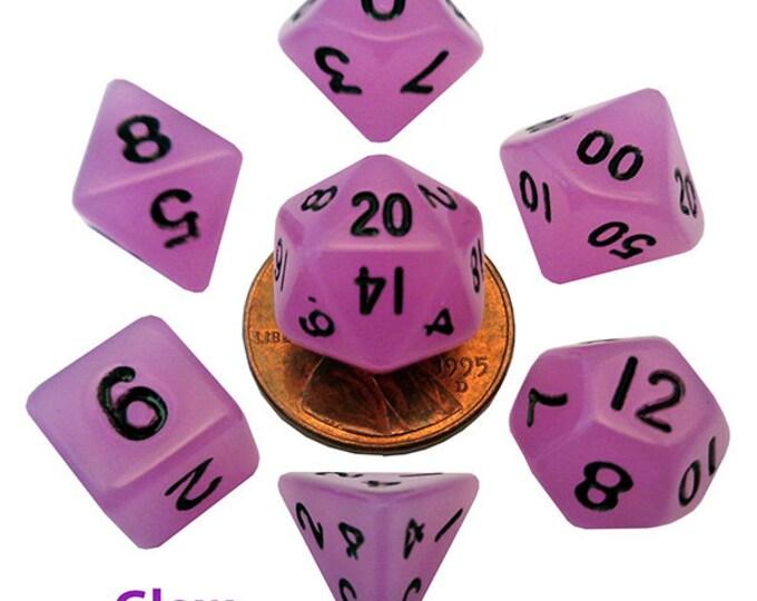 7-Die Set Glow: 10mm Purple/Black - MTD4307 - Metallic Dice Games