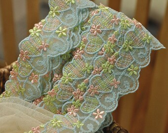 15 Yards Lovely Green Blue Pink Embroidery Lace Trim for Doll Dress Baby Clothes