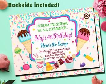 Ice Cream Party Invitation, Ice Cream Invitation, Ice Cream Invites, Ice Cream Birthday Invitation, Ice Cream Invite, Printable Digital File