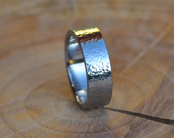 Stainless Steel Ring with Hammered Finish, Men's Ring