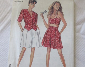 New Look  Sewing Pattern Sizes 6 8 10 12 14 16  High Waist Culottes Bralette Top Blouse UNCUT SKORT Vintage 80s