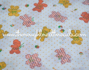 Mod Teddy Bears  - Vintage Fabric Whimsical Polka Dots Toys Gingham