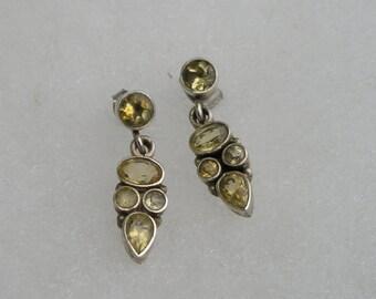 Dainty Sterling silver 925 Citrine Drop Earrings