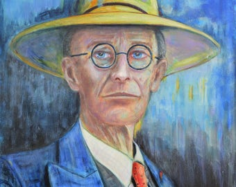 SERGIO IANNIELLO paintings on canvas Impressionist Hermann Hesse Portrait original painting art literature philosophy impressionism