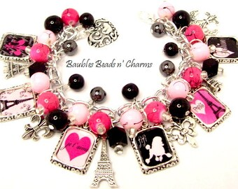 Paris in Pink and Black Charm Bracelet, French Charm Bracelet Jewelry, Photo Charm Bracelet, Altered Art Charm Bracelet
