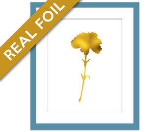 Carnation Print - Gold Foil Print - Flower Poster - Floral Art - Nature Art Print Decor - Nature Poster - Carnation Wall Decor - Flower Art