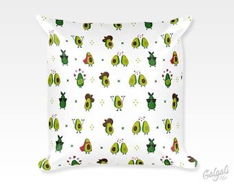 """Square 18""""x18"""" Avocado Pattern Throw Pillow case, Cute Illustrated Waist Throw Cushion Cover, For Home Decor, on sofa, Chair or bed"""