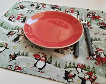 Linen Placemats, Set Of 4, Dining Placemat, Penguin Placemats
