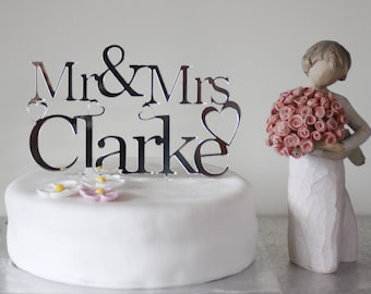 Wedding Cake Topper Personalised Silver/Gold acrylic mirror Mr & Mrs