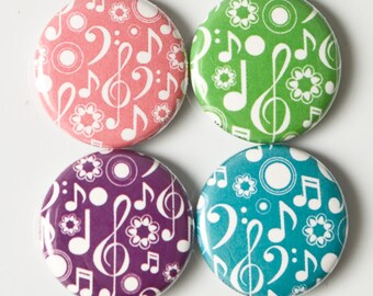 Music and Treble Clef Colorful One Inch buttons or magnets - set of four - MUS 2