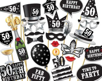 50th birthday Photo Booth props - Instant Download printable PDF. Fiftieth birthday party Photo Booth supplies. Fifty Today - 0192