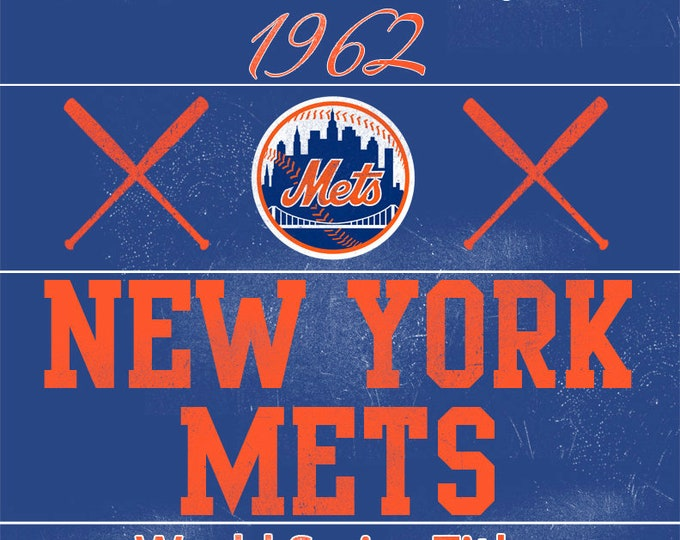 New York Mets Vintage Wall Art Banner on REAL WOOD 16x20