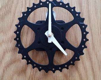 gear wall clock black and white