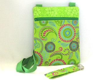 Paisley Crossbody Bag, Handmade Hipster Purse, Green Handbag, Fabric Key Fob, Travel Purse, Zipper Purse, Shoulder Bag