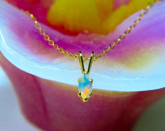 6x3mm, Ethiopian Welo Opal, AAA+ grade fiery Opals, Marquis Natural, Ethiopian Opal, Gold-Filled Stud-Necklace with excellent play of color.