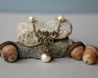 Brass Acorn Topped Pearl Necklace, Acorn Jewelry, Pearl Necklace, Antiqued Brass Acorn Necklace