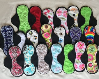 20-pack cloth pad making kit, unfinished, hourglass medium flow, colors/patterns will vary