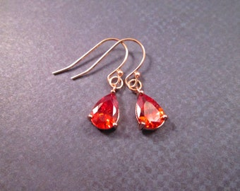 Cubic Zirconia Earrings, Bright Red Drop Stones, Rose Gold Dangle Earrings, FREE Shipping U.S.