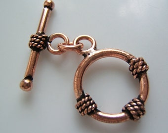 3 Sets - Antiqued Copper over Brass Toggle with Rope Detailing
