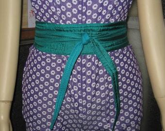 "1980's Charlie Girl 100% Silk India Sash Tie Belt Dark Hunter Green 70"" X 2.5"""