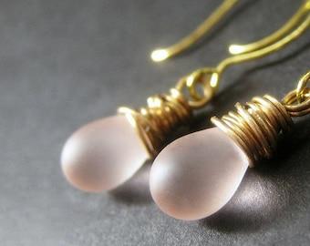 Teardrop Earrings: Wire Wrapped Soft Pink Frosted Glass Earrings in Gold. Handmade Jewelry.