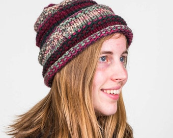 Knitted Adult Hat:  Size Medium in Burgandy, Gray, Raspberry, Black
