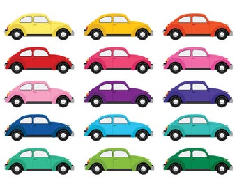 Classic Beetle Car Clip Art Set | Vector Retro Vintage Vehicle Bug German Coupe Modern Color | Graphic Design | Personal & Commercial Use