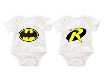Batman and robin  dual  Onesie Romper Bodysuit