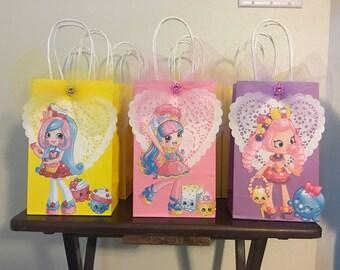 shopkin girls small favor bag loot bag gift bag treat bag birthday 8.5 tall by 5.25 inch wide
