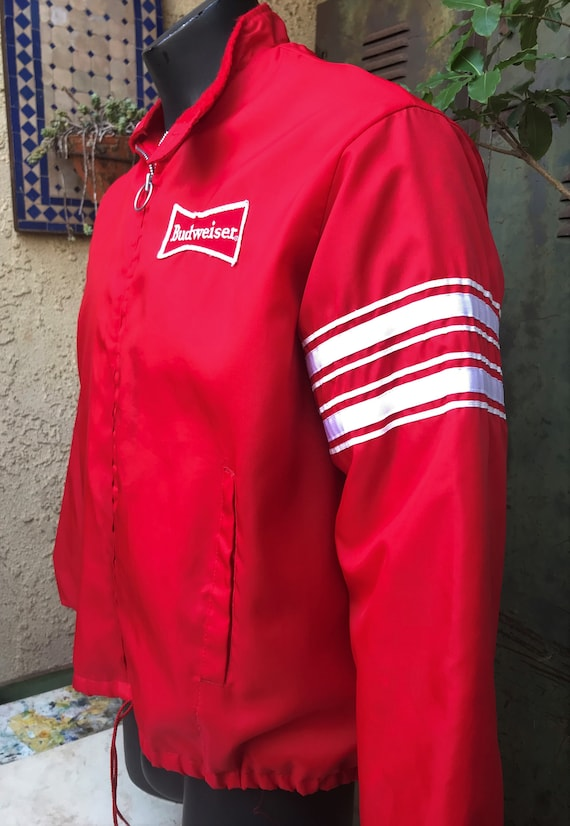 Swingster World Of Wearables Budweiser Pit Jacket, 1970s Swingster Budweiser Windbreaker, Retro Bud Pit Jacket Mens XL/ Made in USA