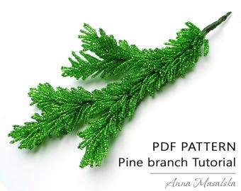 Beaded Pine branch, French loop weaving technique, Pine branch from seed beads, PDF tutorial, tutorial, seed bead weaving, home décor, gift