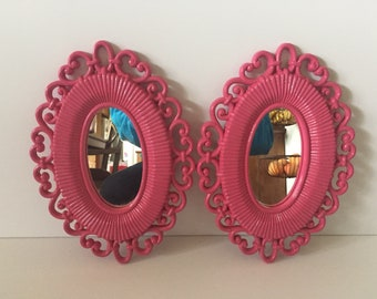 vintage hot pink mirrors set of 2 ornate girls teens room faux - Mirror For Girls Room