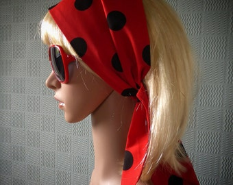 Polka dot hair scarf, spotted hair wrap, red headband/bandana in retro vintage 50's style red with black spots
