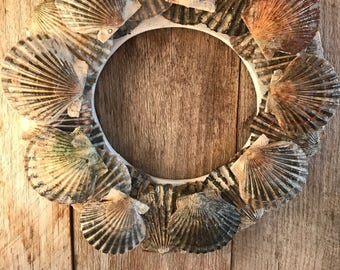 Scallop Shell Wreath 11 Inches Made with Cape Cod Shells Coastal Christmas Beach Holiday Ocean Cottage Decor