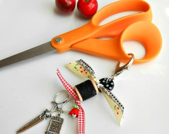 Scissor Fob -  Scissor Charm - Gift for Sewers - Gift for Quilters - Purse Charm - I Love Quilting  - Spool of thread fob - Cherry Chick