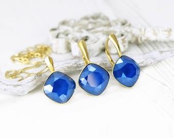 Royal blue crystal earrings necklace, Swarovski earrings, Bridesmaids earrings gift, Blue gold cushion cut earrings pendant, Something blue